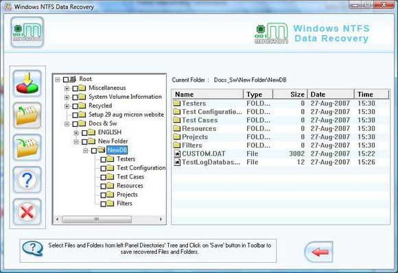 NTFS Data Recovery Software screen shot