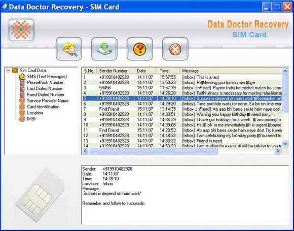 Data Recovery Software for SIM Cards screen shot