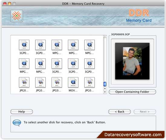 Restore videos by Memory Cards Recovery Tool